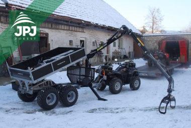 Malá vyvážečka Vahva Jussi 2000+_400 s hydraulicky sklopnou korbou a pracovní čtyřkolka